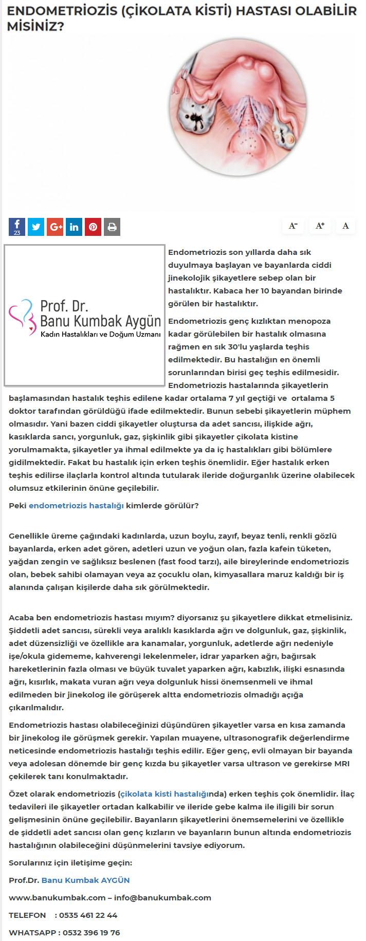 Haberts.com Endometriozis (Çikolata Kisti) Hastası Olabilir Misiniz? Aralık 2018 1