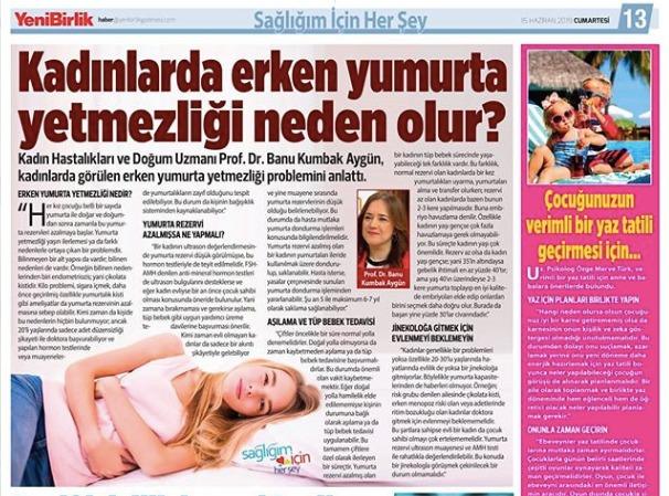 YeniBirlik Gazetesi - Kadınlarda Erken Yumurta Yetmezliği Neden Olur?- Haziran 2019 3