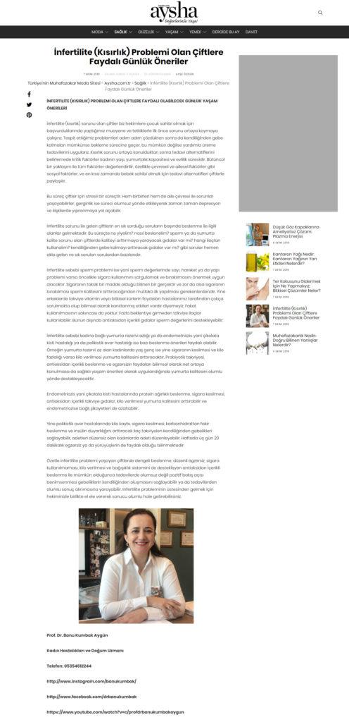 İnfertilite (Kısırlık) Problemi Olan Çiftlere Faydalı Günlük Öneriler, Aysha Dergisi, Ekim 2019 1