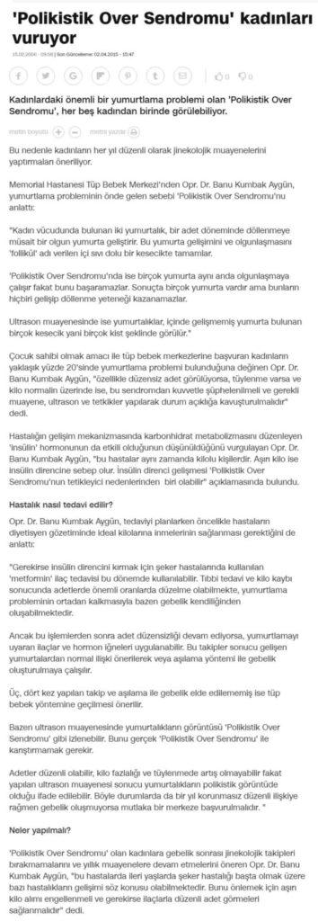 """Cnnturk.com """"Polikistik Over Sendromu Kadınları Vuruyor"""" Şubat 2006 1"""
